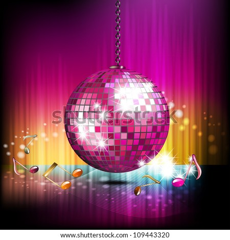 Musical notes with disco globe - stock photo