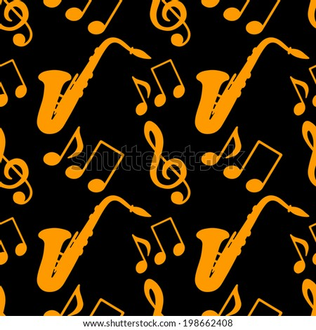 Musical seamless pattern with silhouettes music notes, treble clef, saxophone in black and gold. Endless print texture. Abstract repeating background. Fabric design. Wallpaper - raster version