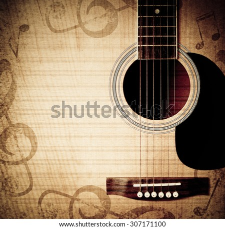 musical square background with guitar and notes. toned photo
