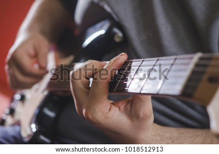 Musician Hands Playing Chords On Electric Stock Photo (Safe to Use ...
