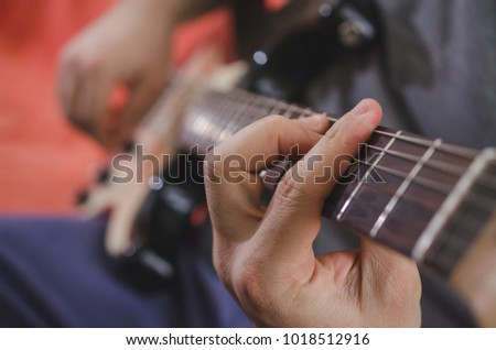 Musician Hands Playing Chords On Electric Stock Photo (Royalty Free ...