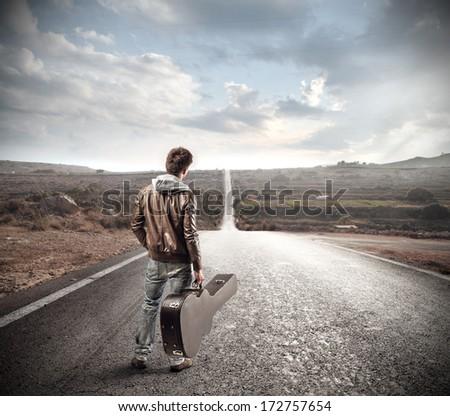 musician on the street - stock photo