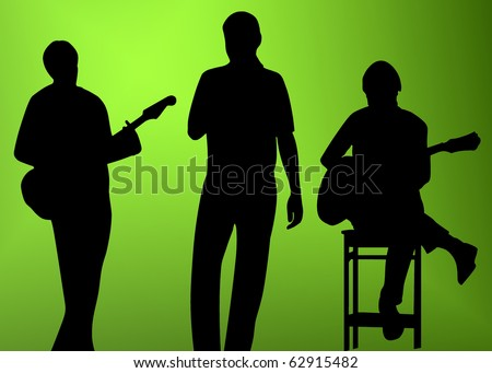musician (player, singer) silhouette (shape) on white background - stock photo