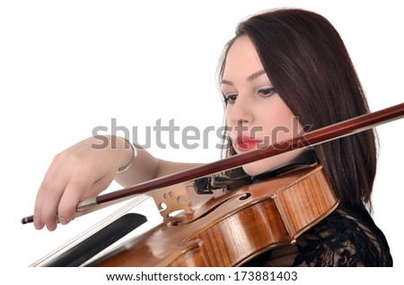 Musician playing violin isolated on white