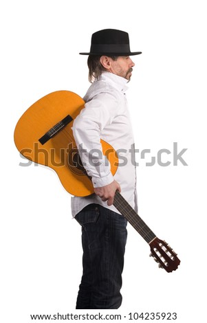 Musician with guitar isolated on white.