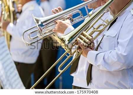 Musicians at the festival of military bands - stock photo