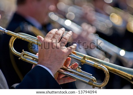 Musicians at the Festival of Military Bands, St.Petersburg, Russia, 12.06.2008 - stock photo