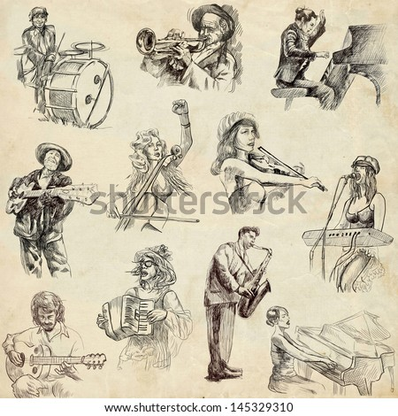 Musicians - Collection of an hand drawn illustrations. Description: Full sized, original, hand drawn illustrations drawing on old paper.