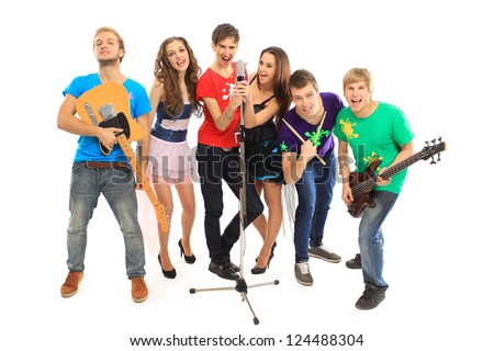 musicians group playing musical instruments in a concert isolated on white background - stock photo