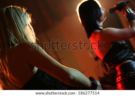 Musicians on a rock concert - stock photo