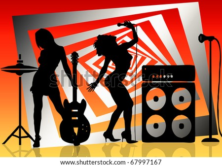 musik band woman - stock photo