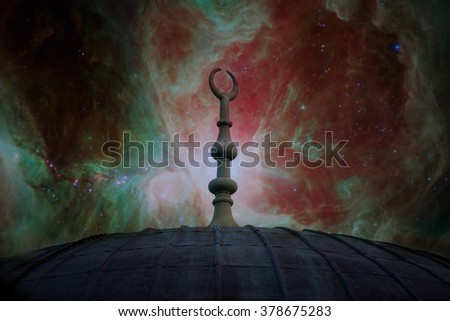 muslim architecture symbol over the red sky with manny stars- elements of this image are furnished by NASA