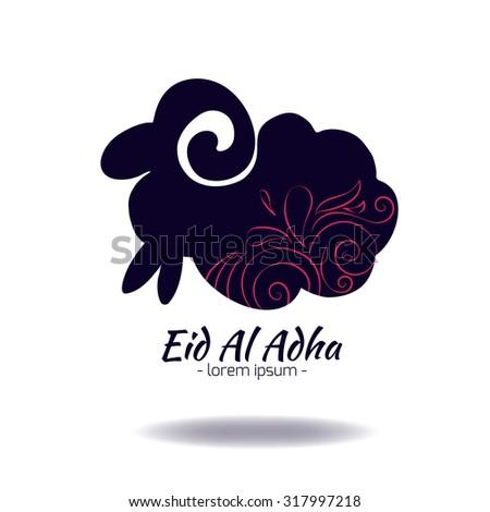 Muslim community festival of sacrifice Eid-Ul-Adha greeting card with sheep. - stock photo