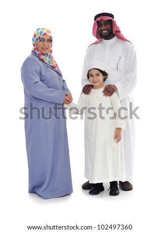 Muslim family, two races together - stock photo