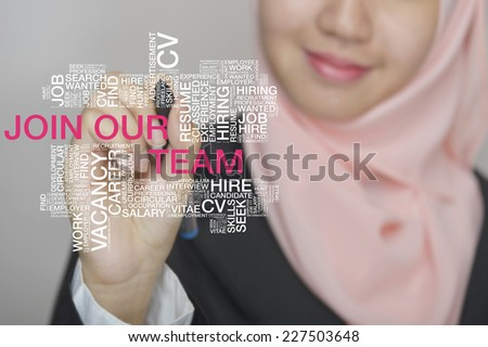 Muslim girl touch screen concept with Join Our Team wordcloud  - stock photo