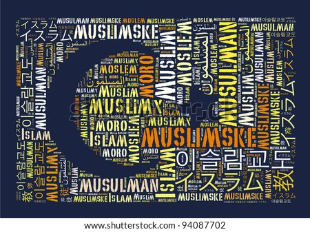 Muslim in variable language info text graphics and arrangement concept.