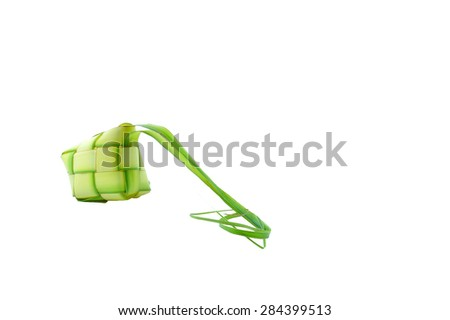 Muslim Ketupat (Rice Dumpling) and Clipping Path. Translation: Eid Mubarak - Blessed Feast 