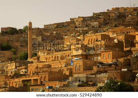 Muslim mosque and minaret in southern Turkey (Mardin). City view. Sunset