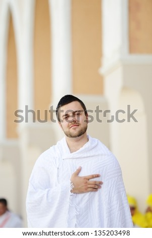 Muslim pilgrim in Makkah - stock photo