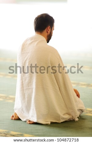 Muslim wearing ihram clothes and ready for Hajj