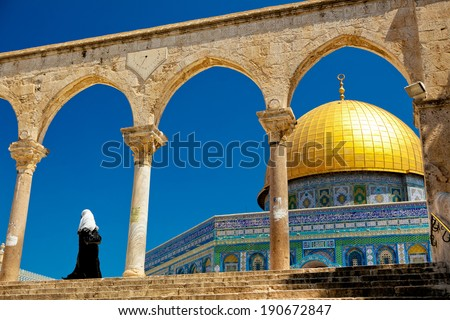 Muslim woman at the Dome of the Rock