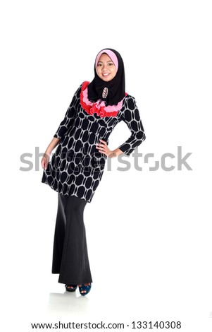 Muslim woman on white background