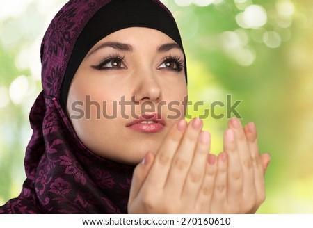 Muslim, woman, prayer. - stock photo