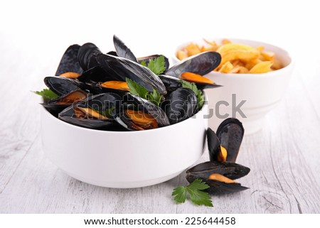 mussel and french fries - stock photo