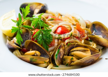mussel and squid salad - stock photo