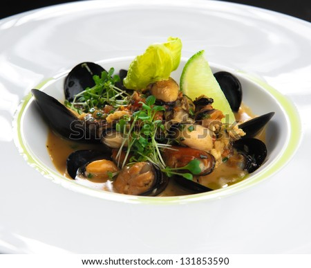 Mussel stew - stock photo
