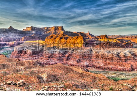 Musselman and Lathrop Canyon at Sunset - Near White Rim Trail