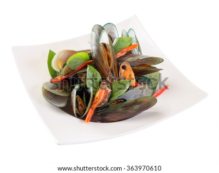 Mussels baked basil isolated on white background. - stock photo