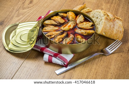 Mussels canned - stock photo