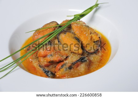 mussels gratin with chives - stock photo