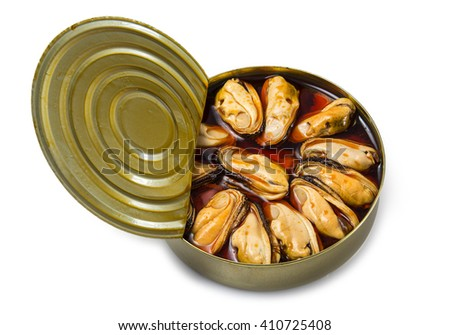 Mussels in conserve - stock photo