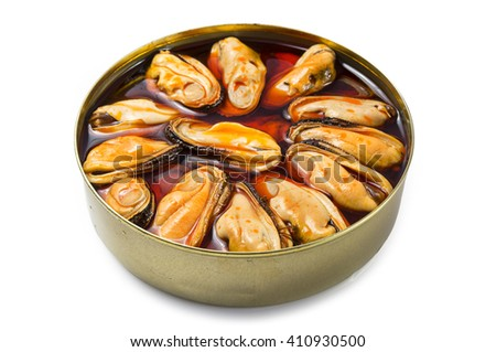 Mussels tin appetizer - stock photo