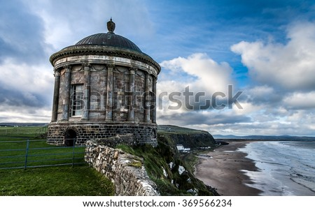 Mussenden Temple and Downhill Demesne, Northern Ireland, United Kingdom - stock photo