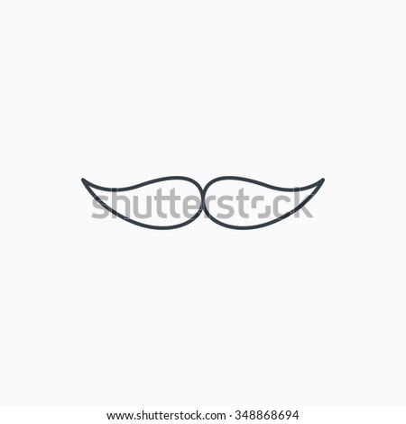 Mustache icon. Hipster symbol. Gentleman sign. Linear outline icon on white background.  - stock photo