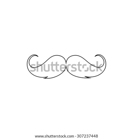 Mustache. Outline black simple symbol - stock photo