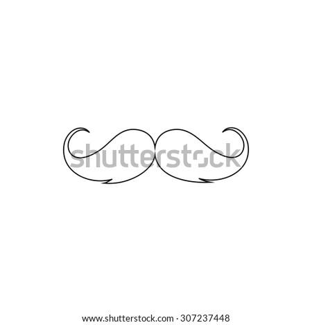 Mustache. Outline black simple symbol - stock photo