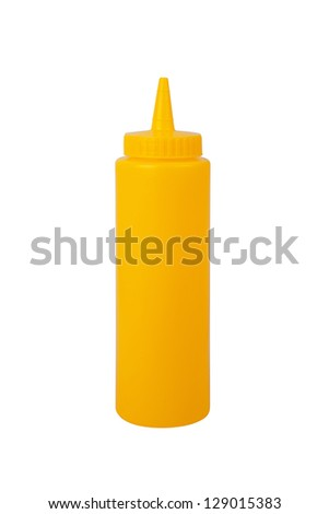 mustard bottle on a white background