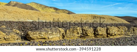Mustard Canyon panorama in Death Valley National Park - stock photo