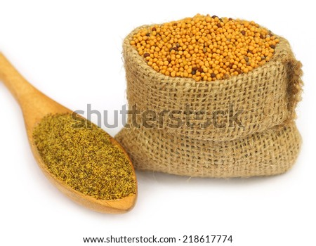 Mustard in sack bag with grated seeds on wooden spoon - stock photo