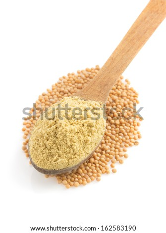 mustard powder in spoon isolated on white background - stock photo