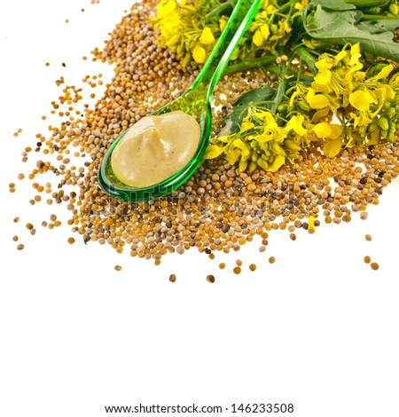 Mustard sauce  in spoon and mustard flower in spoon isolated on white background  - stock photo