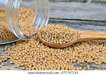 mustard seed with spoon and bowl on wooden table