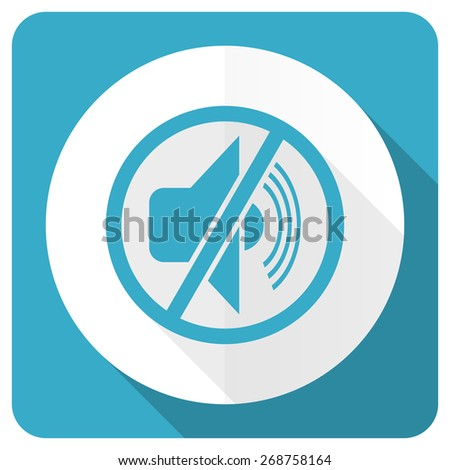 mute blue flat icon silence sign  - stock photo