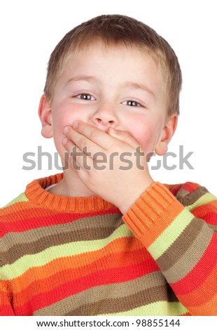 Mute child with blond hair isolated on white background - stock photo