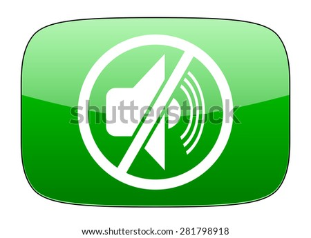 mute green icon silence sign  - stock photo