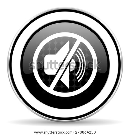 mute icon, black chrome button, silence sign  - stock photo